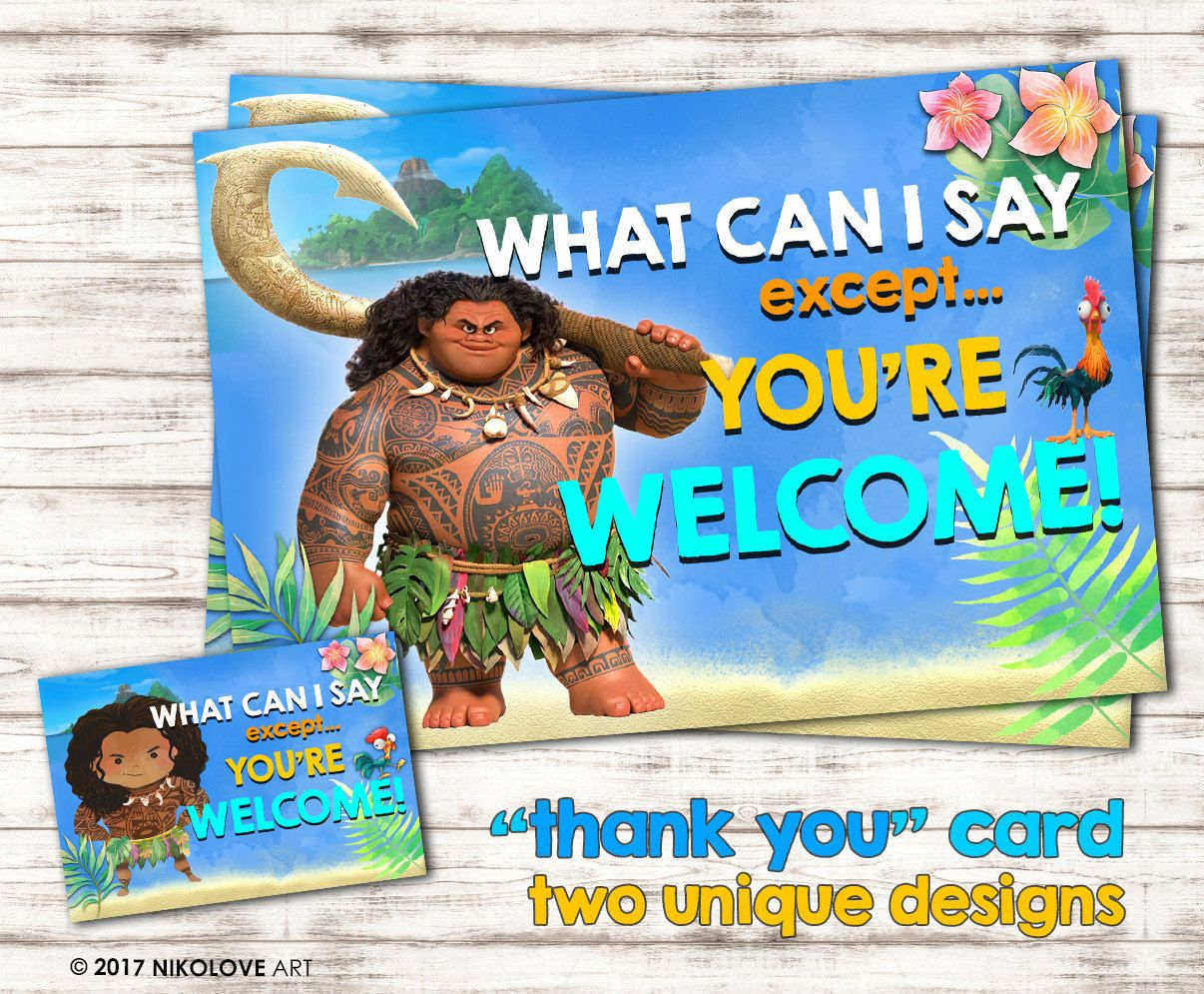 funny moana maui thank you you re welcome card very cute by