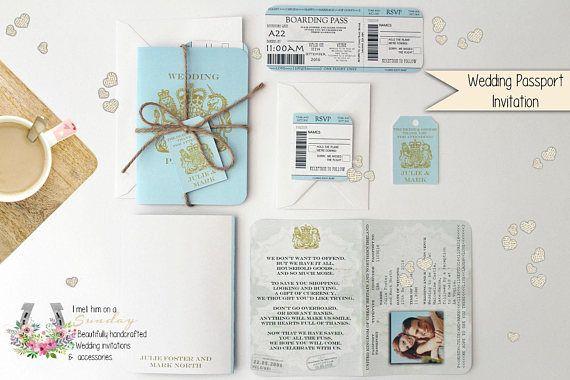 X1 Passport Style Travel Wedding Birthday Baby Shower Invitation