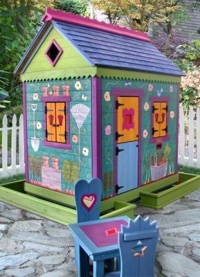 Garden Sheds Painted fun garden shed painted with brightly colored wood stains. this