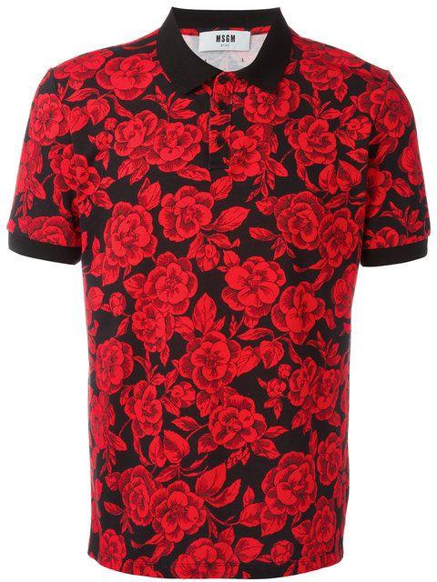 0659c05b5 MSGM rose print polo shirt | Men fashion | Cotton shirts for men ...