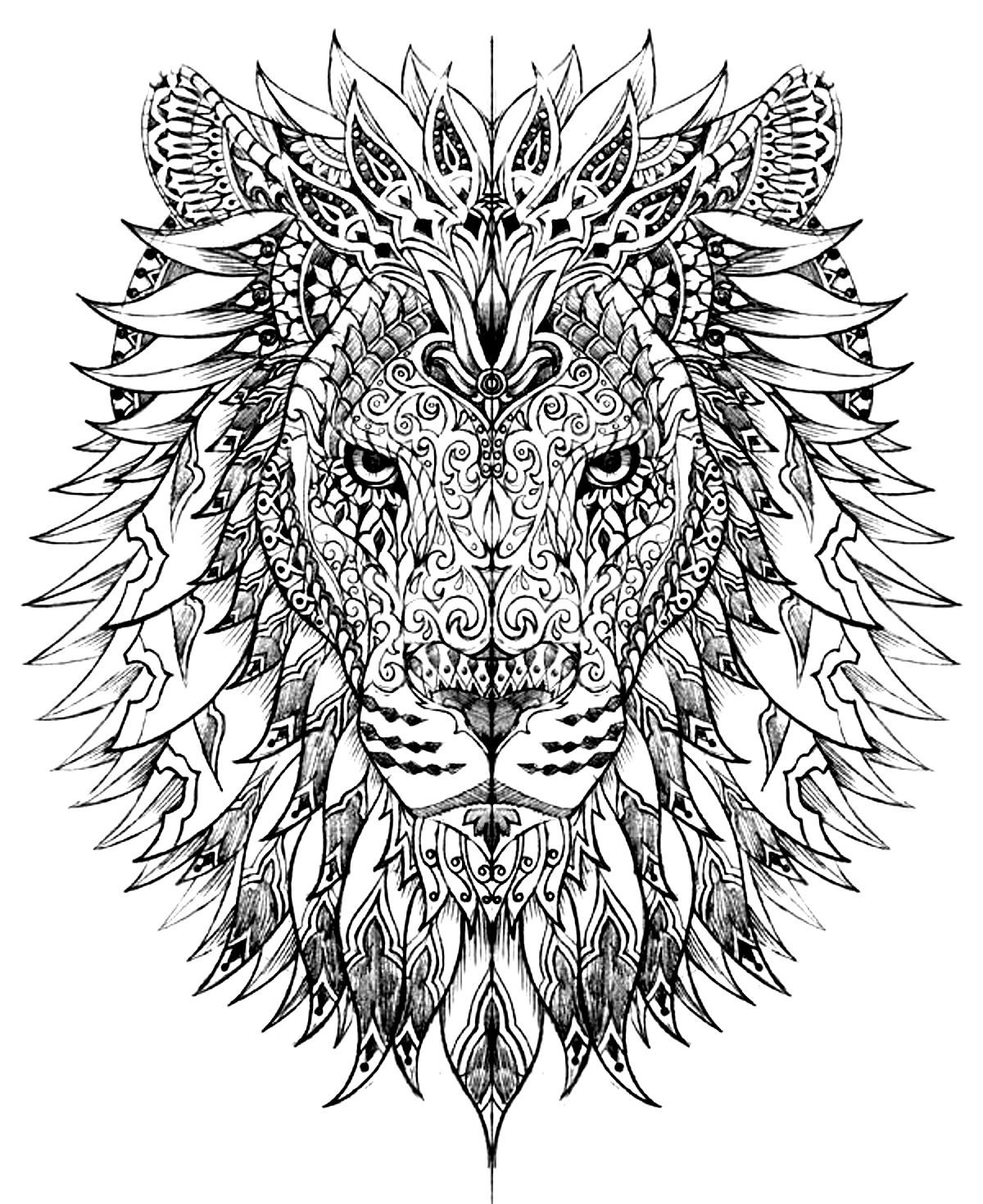 Free coloring page «coloring-adult-difficult-lion-head ...Lion Head Coloring Pages For Adults