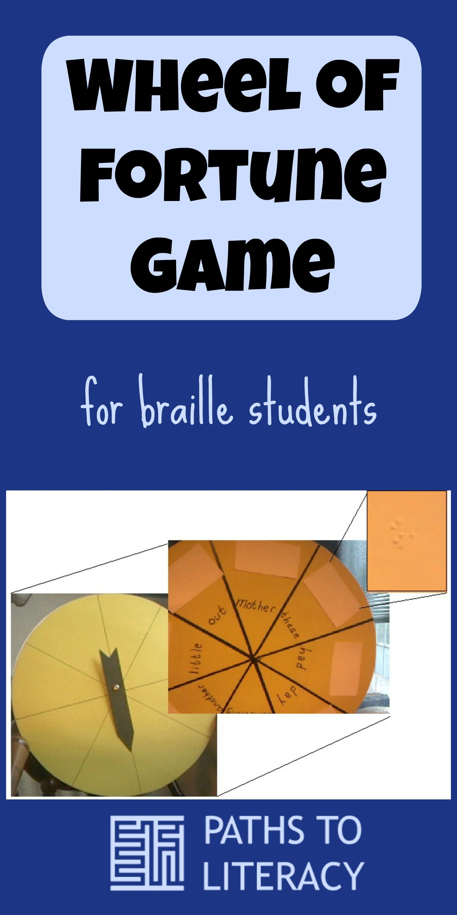 This Wheel of Fortune game for braille students can be