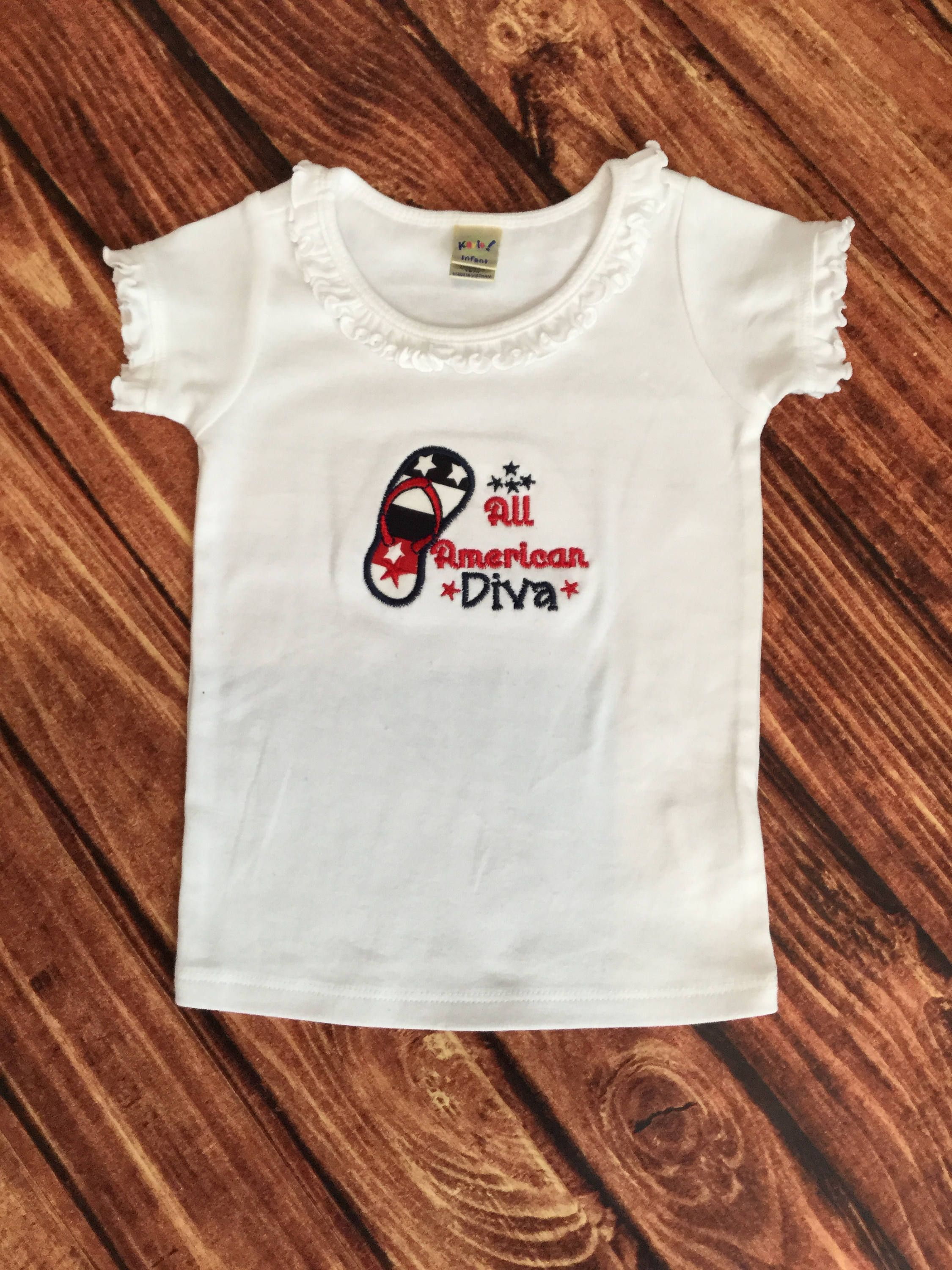 FREE SHIPPING All American Diva Infant Girl T Shirt Patriotic 4th