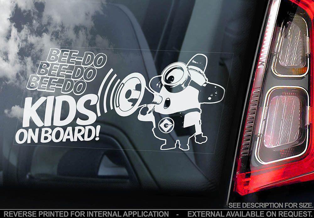 Kids on Board Car Window Sticker Minions Gift Idea