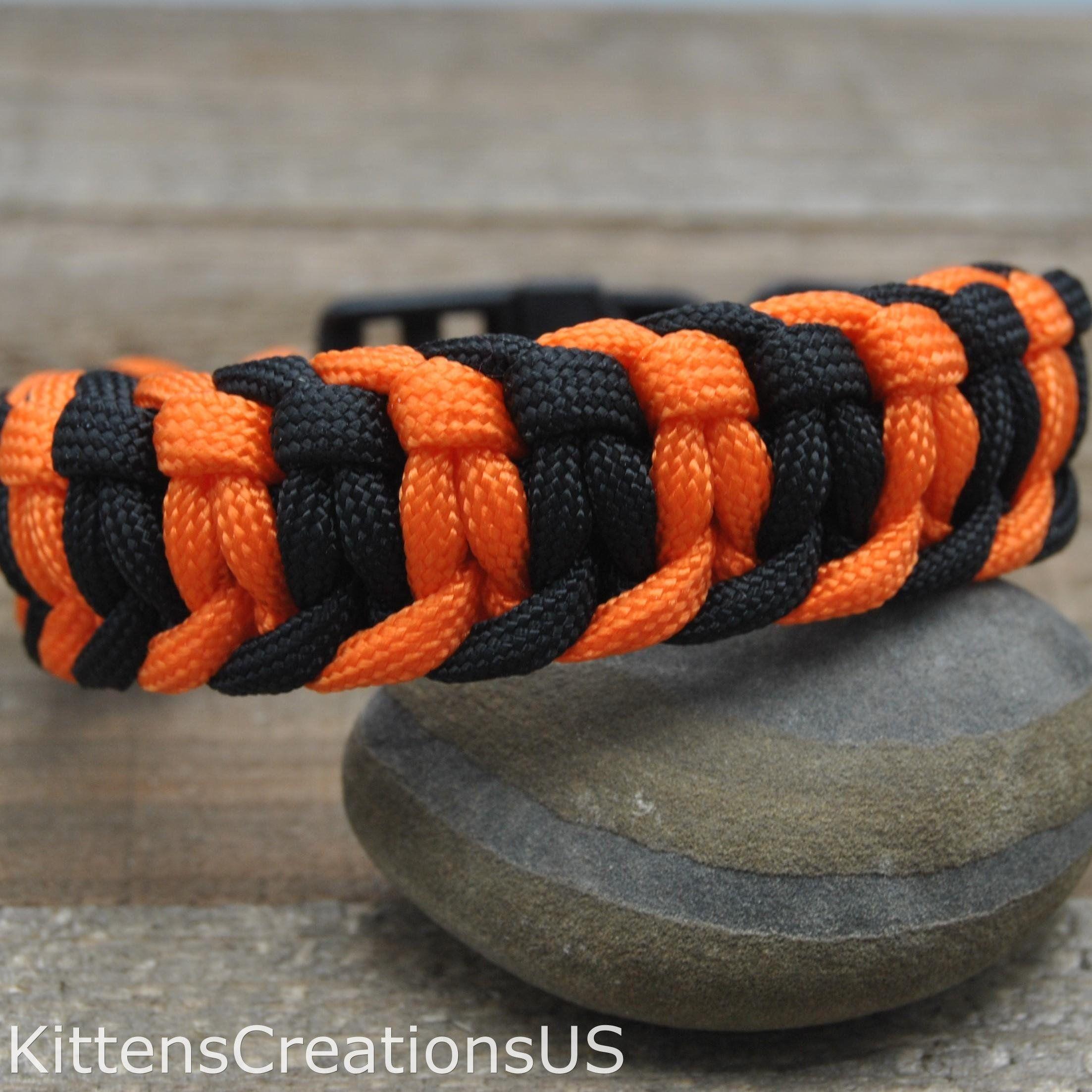 Black And Orange Two Color Cobra Belly Paracord Bracelet Item