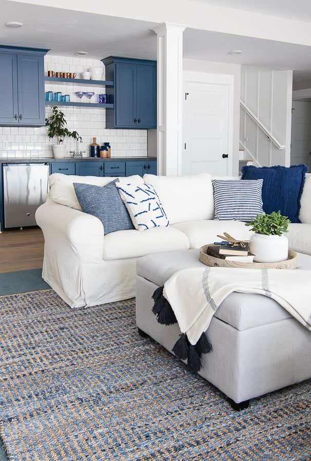 Lake house basement family room the lilypad cottage lake house family room blue and white decor