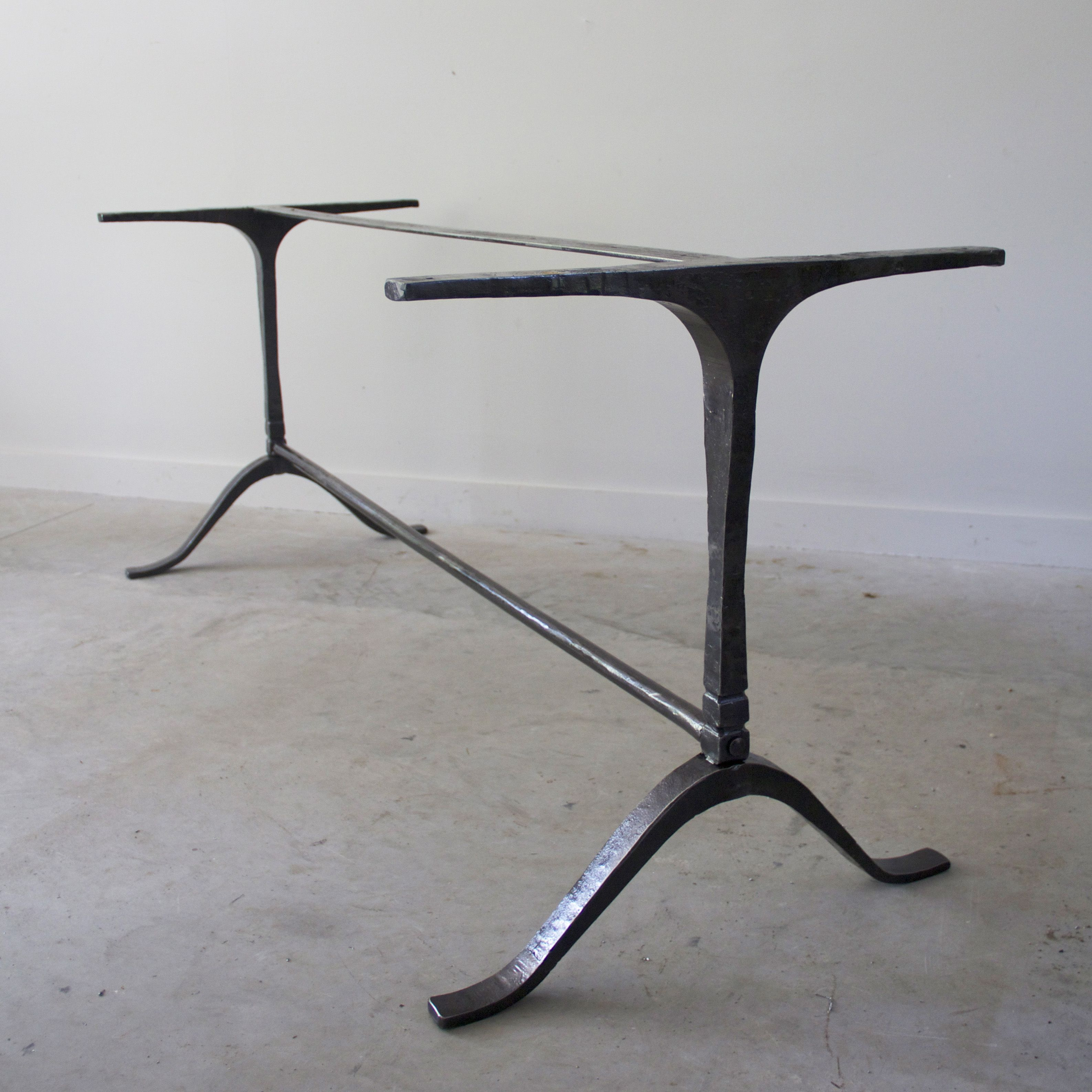 Custom Coffee Table Bases: Wrought Iron Wishbone Trestle Table Base. Built To Suit