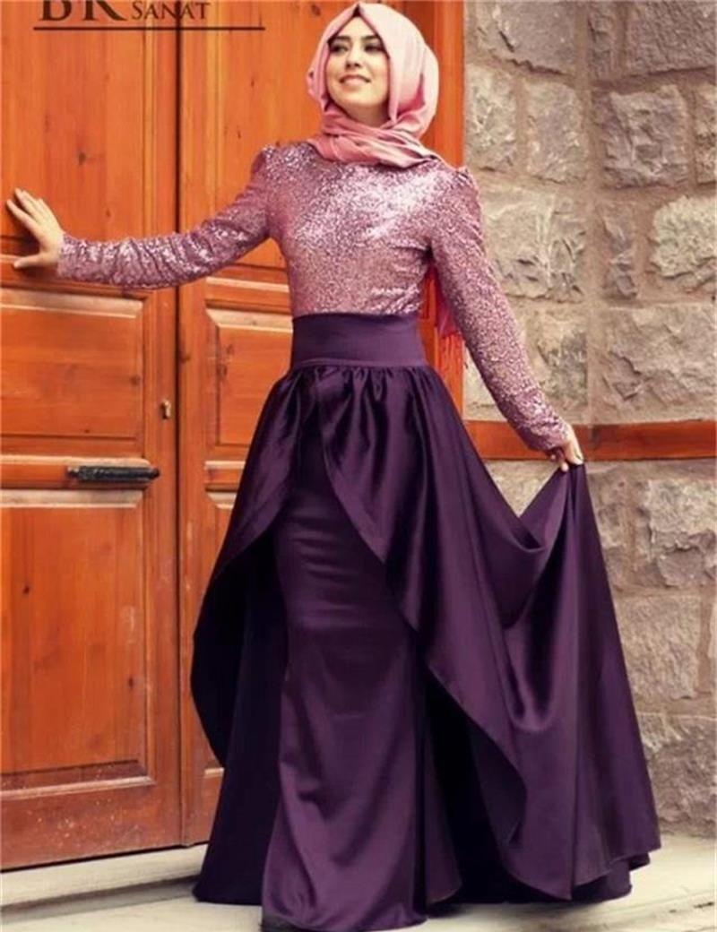 Hijab Long Sleeve Evening Dress Arabic Gowns 2016 NEW Cheap Elegant ...
