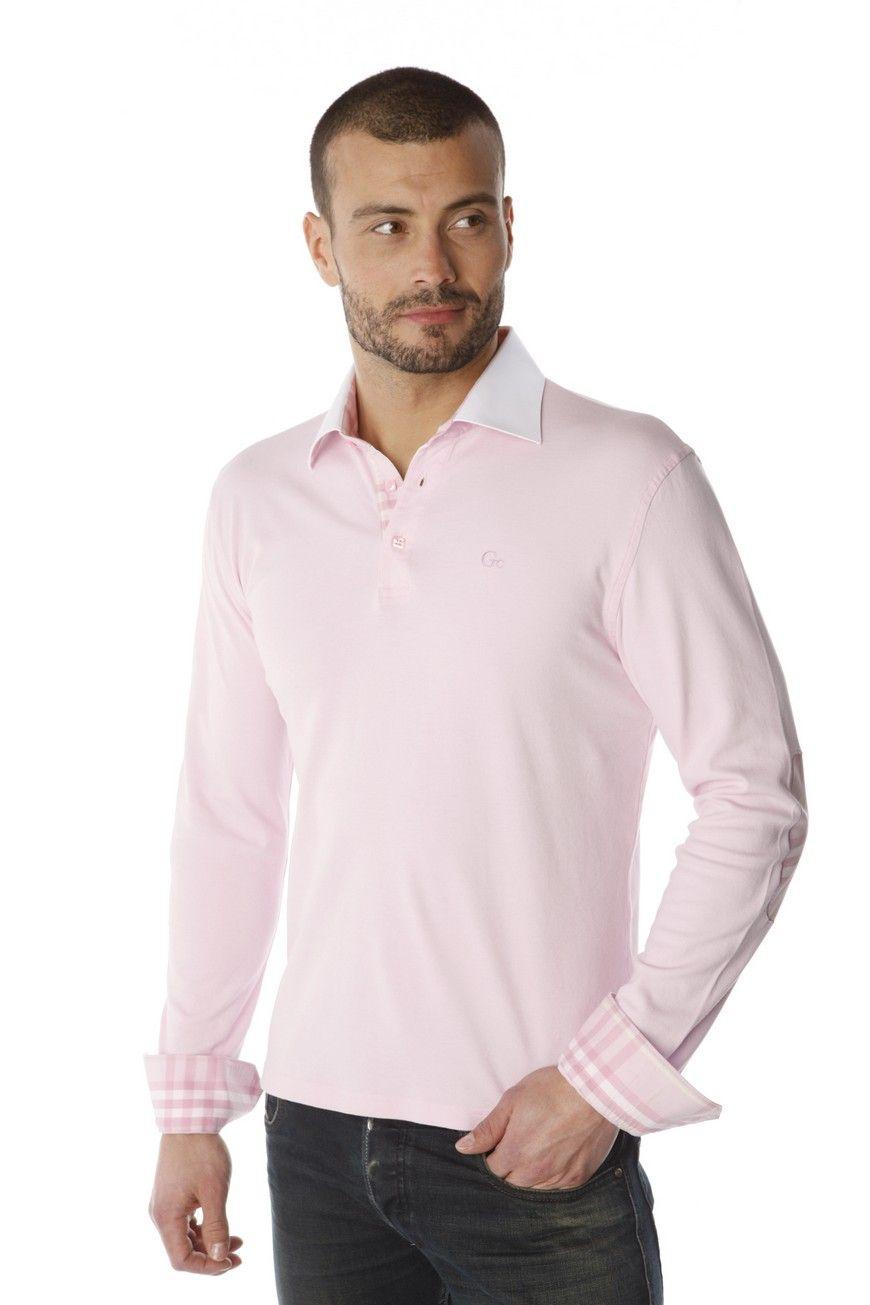 fde4c8007af3e Polo homme rose uni aux coudières et patte de boutonnage en madras rose  contrastant idéalement avec
