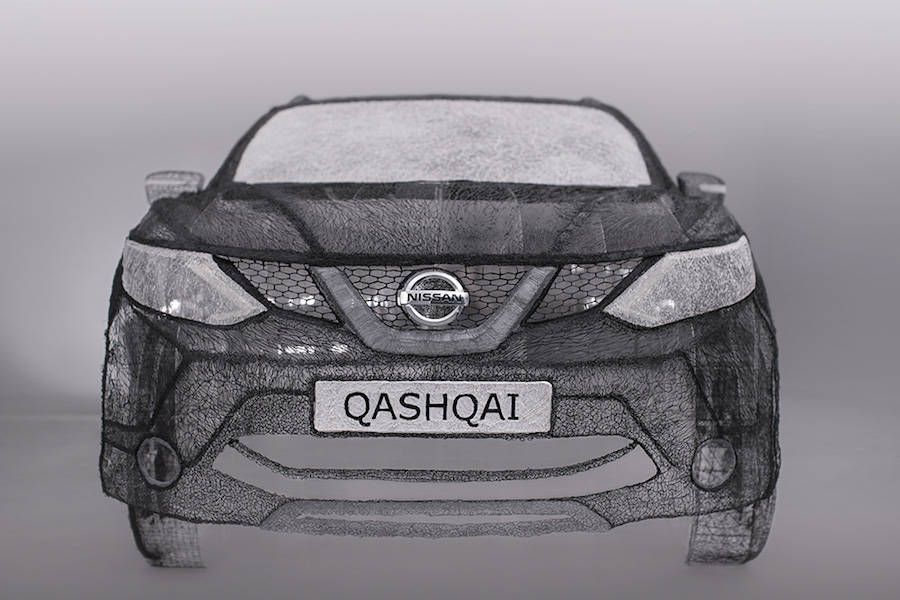 Incredible lifesize sculpture of a car Nissan made with a 3D pen