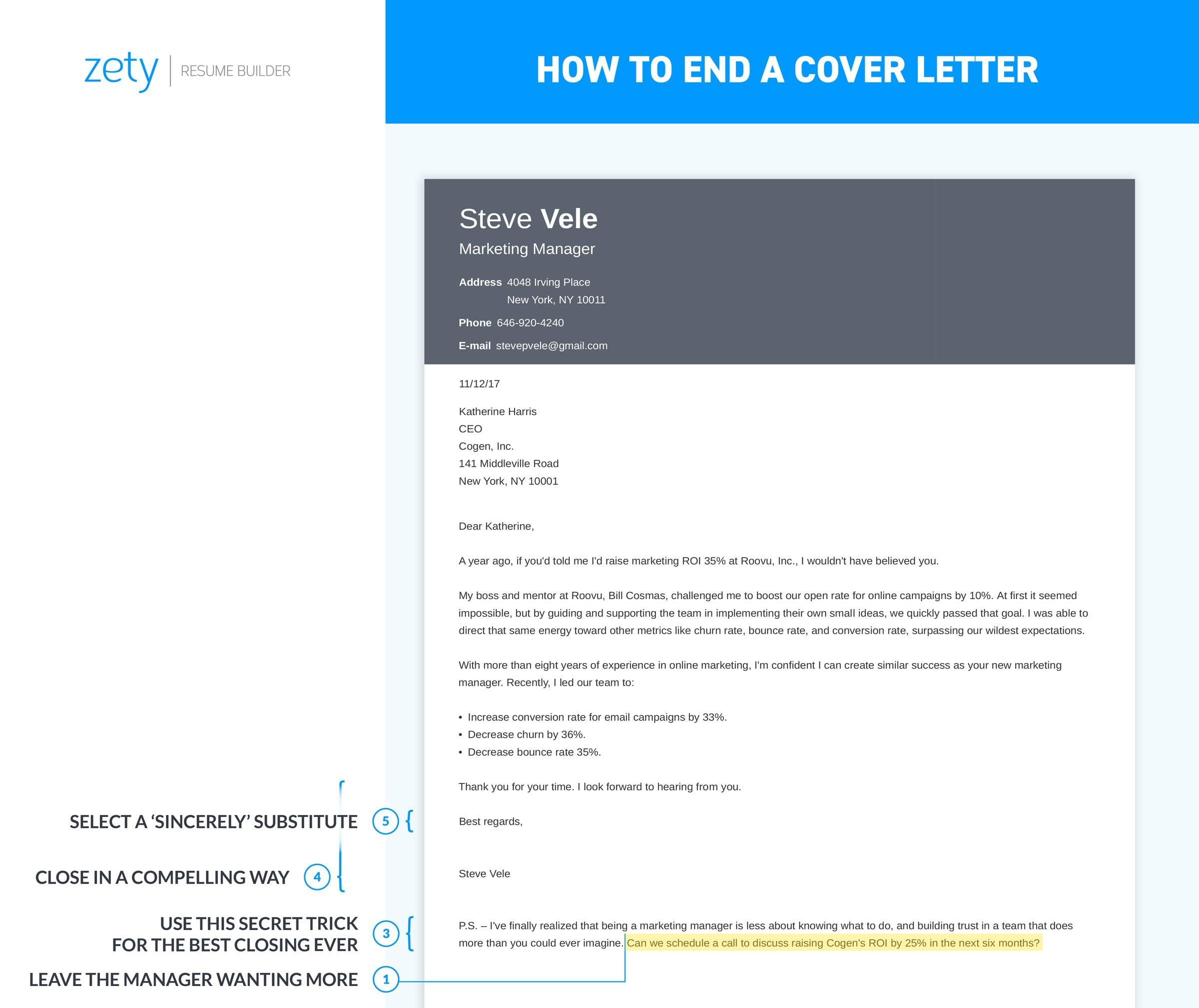 How to End a Cover Letter [20+ Closing Paragraph Examples