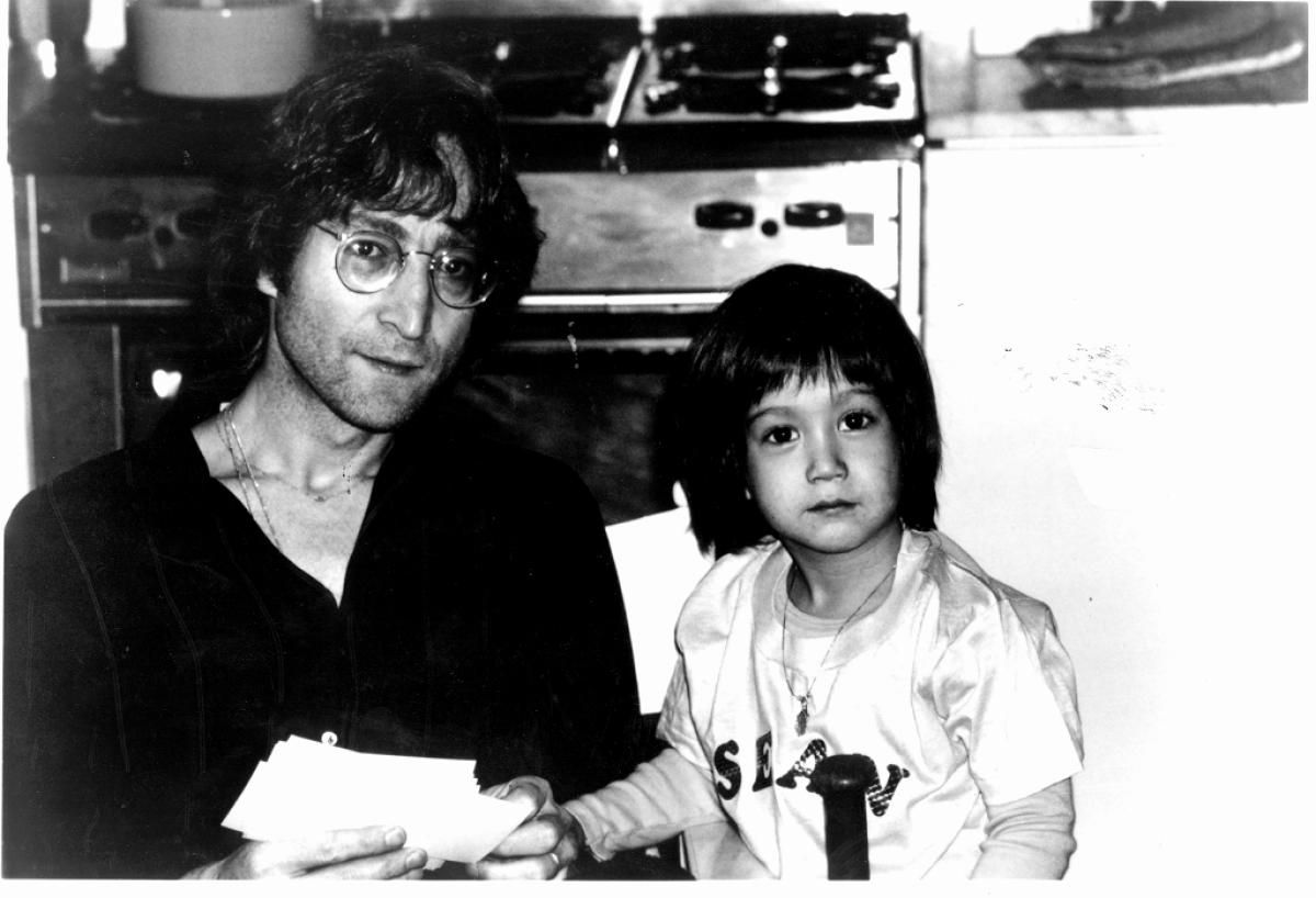John Lennon And His Son Sean In The Kitchen Of Their Home New York Complex Known As Dakota