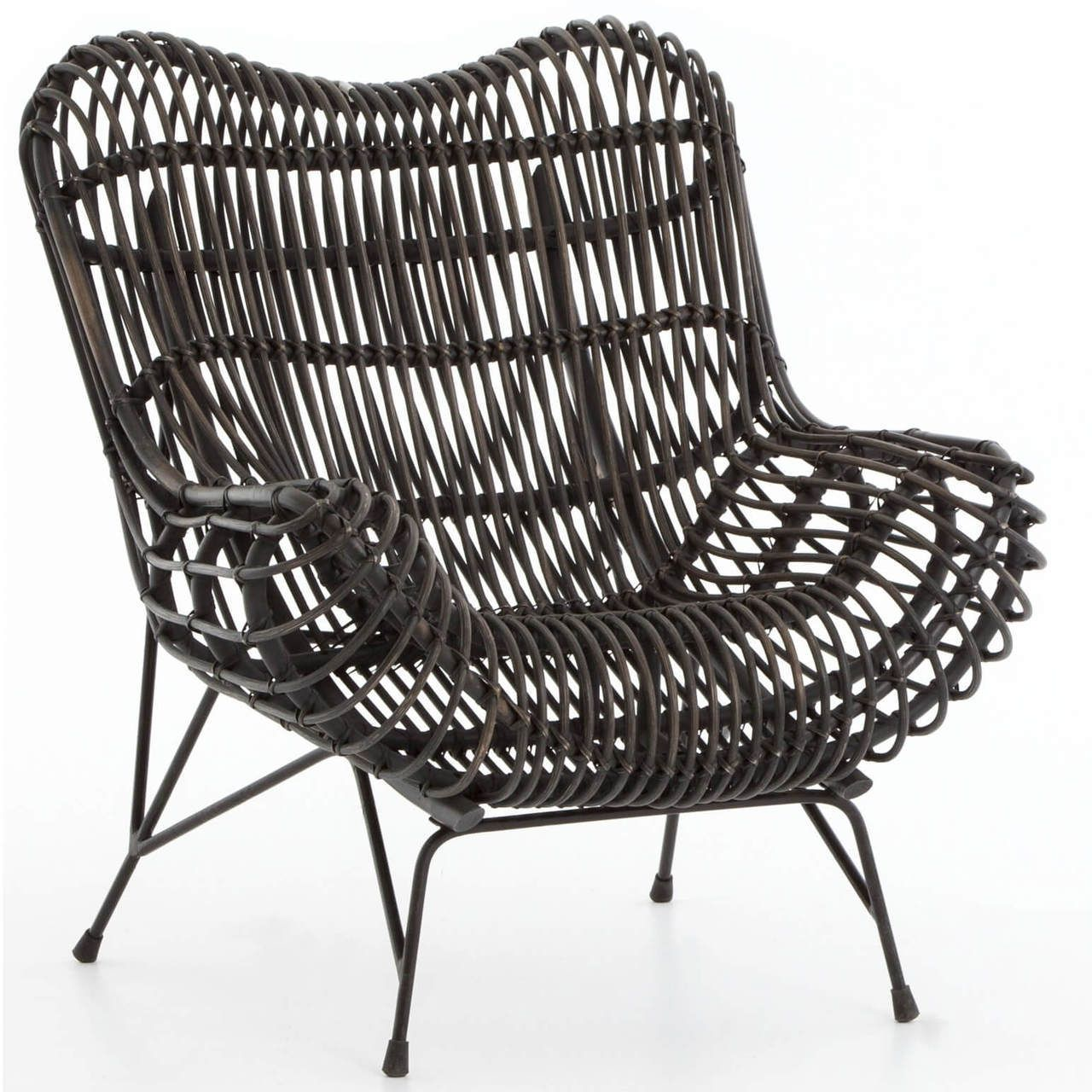 Coastal black iron and woven wicker accent chair in 2020