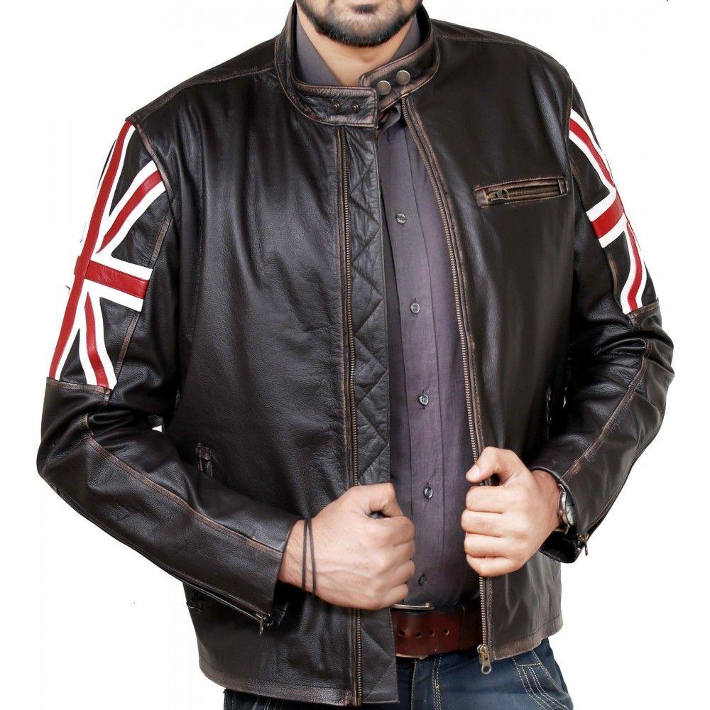 Mens Biker Vintage Distressed Brown Union Jack Cafe Racer Leather Jacket UK Flag