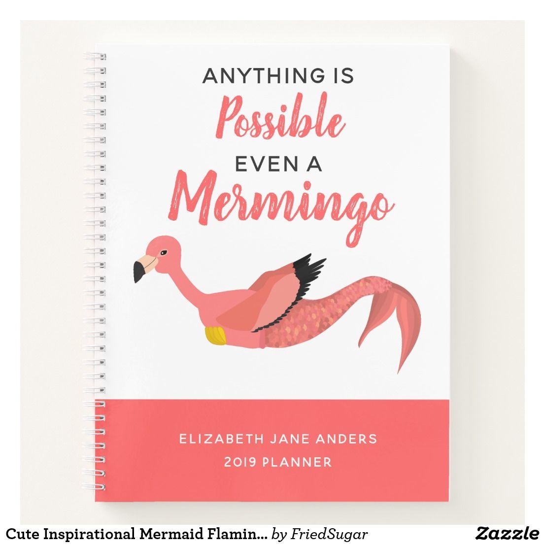 Cute Inspirational Mermaid Flamingo Mermingo Notebook