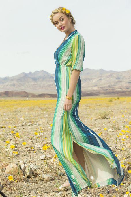 9dd9f8ada24 Jessamine Stripped Chiffon Maxi Dress Green