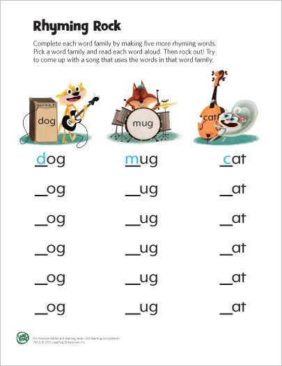 LeapFrog Printable: Rhyming Rock // Hoja de trabajo con palabras que ...