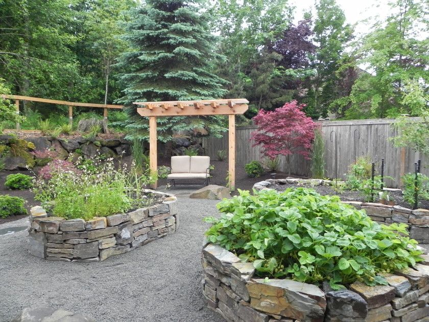 Raised stone garden bed