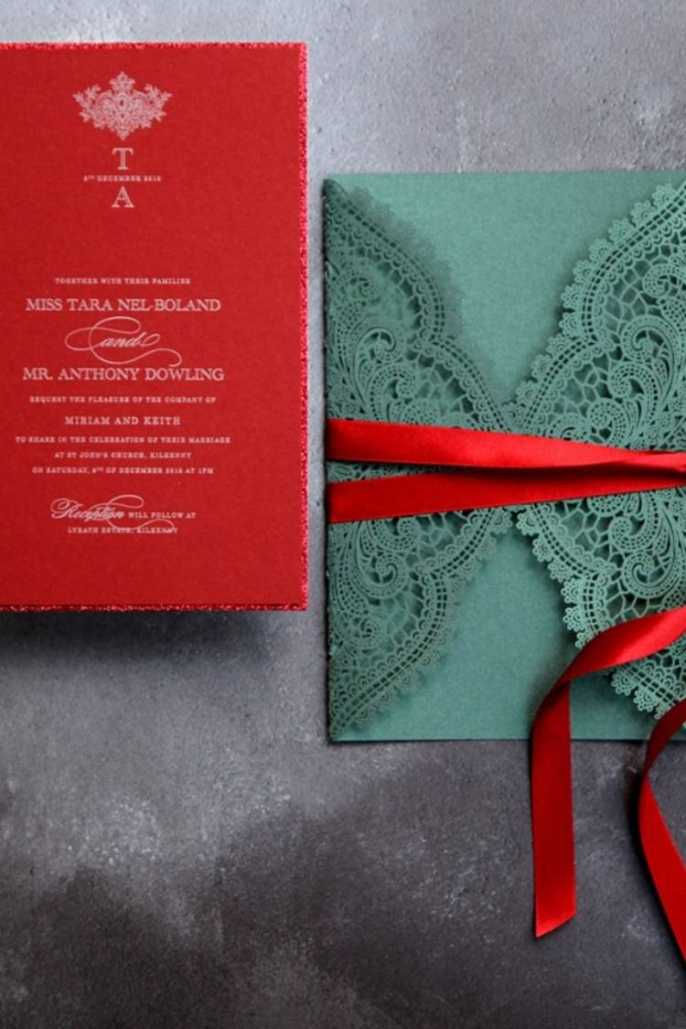 5079832362cc12 Gorgeous winter themed wedding invitations emerald laser cut with deep red  insert and fine red glitter
