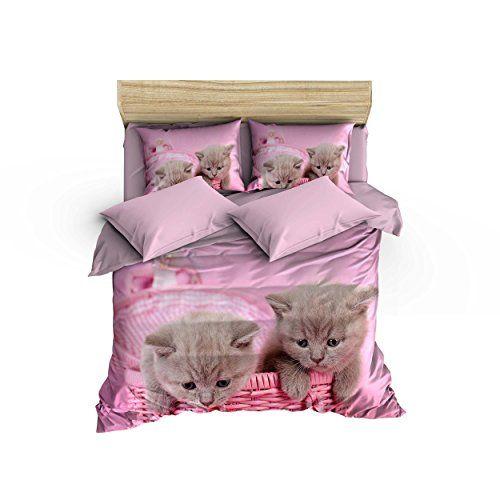 6 Pieces Queen Size Cotton Bedding Set Cat Pattern 640
