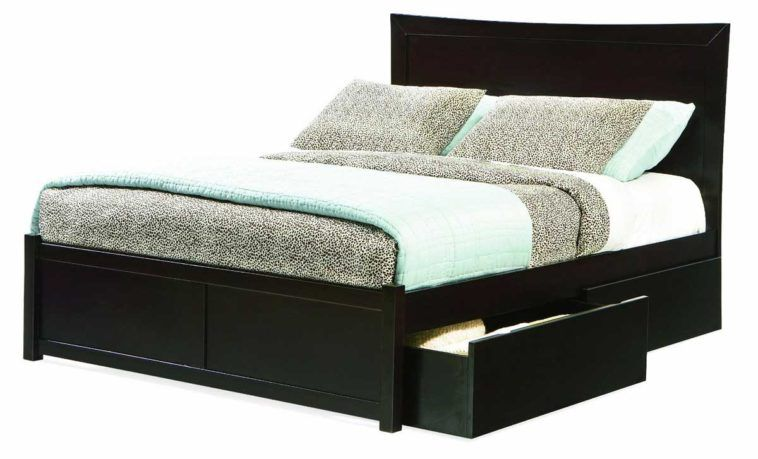 Charmant Black Wooden Platform Bed With Storage Drawer Underneath As Well As Single  Iron Bed Frame Plus