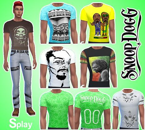T-shirt Snoop Dogg for males at Splay • Sims 4 Updates