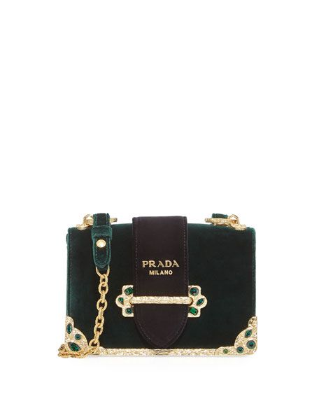 9bd977bb130630 PRADA Velvet Cahier Chain Shoulder Bag, Green. #prada #bags #shoulder bags # leather #lining #velvet #crystal #