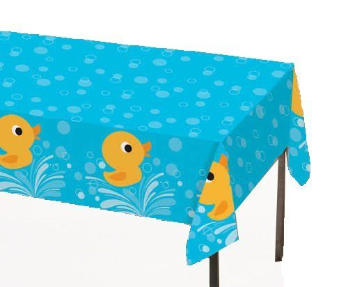 """Creative Converting Lil' Quack Plastic Tablecover, Rectangle, 54"""" x 108"""" by Creative Converting. $6.55. Rectangle, measures 54"""" x 108"""". Fits a standard banquet table easily. Yellow rubber duck themed plastic table cover. Perfect supplies for a young child's birthday party or a baby shower. See Creative Converting's coordinating line of party goods and dinnerware, paper plates, napkins, cupcake toppers, hanging decorations, banners, invitations, loot bags and more. F..."""