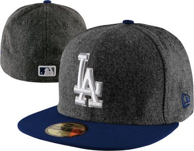 Los Angeles Dodgers Grey Wool New Era Melton Basic Fitted Hat  c8279a86229