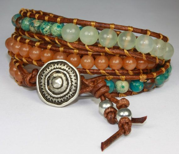 Three Wrap Brown Leather Gemstone Bracelet with by LeahSkidmore, $38.00