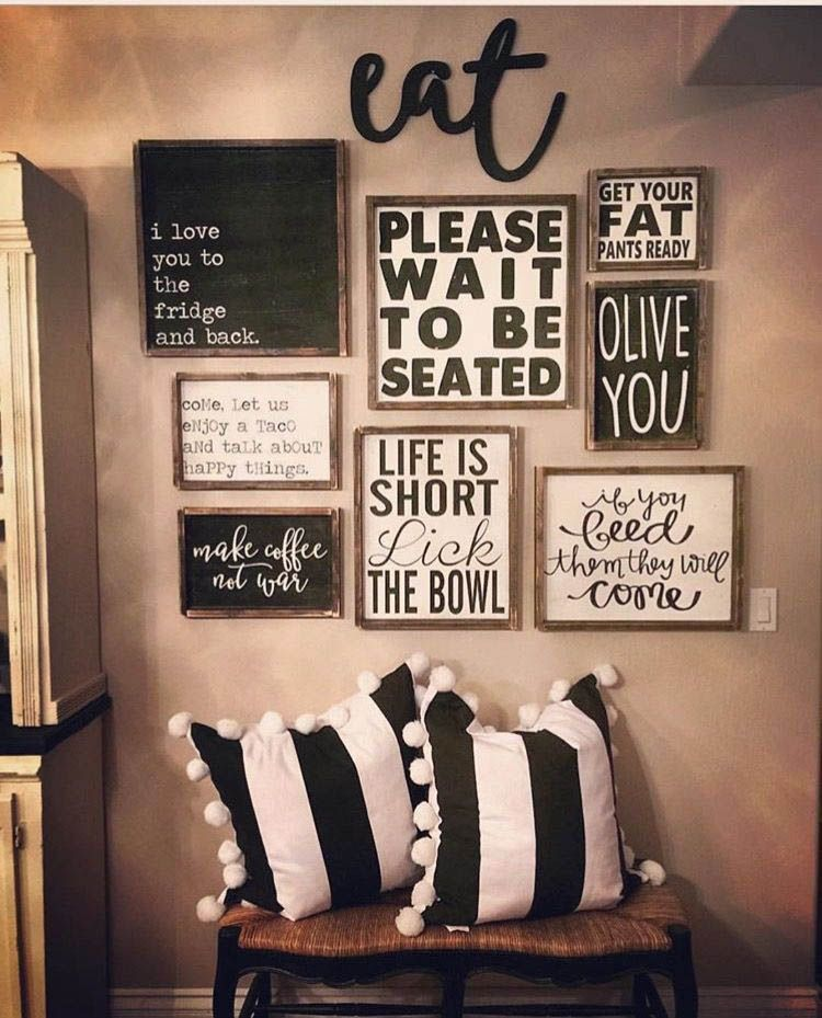 Pretty Kitchen Wall Decor Ideas To Stir Up Your Blank Walls Dining Room Wall Decor Farmhouse Dining Rooms Decor Kitchen Gallery Wall