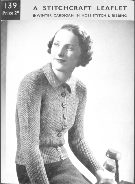 This is a late thirties cardigan for a medium sized figure. Bust 35 – 37 inches. It was date stamped into the British Museum on 20th March 1939. Here are the pages as three pdfs – Stitc…