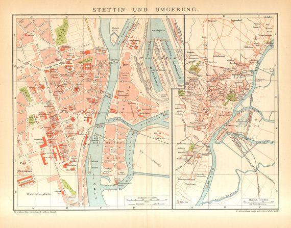 1895 Original Antique City Map of Szczecin or Stettin City maps