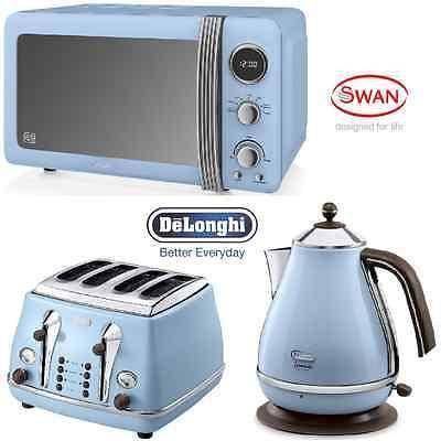 Blue Delonghi Vintage Icona Kettle 4 Slice Toaster 20l Retro Microwave Set