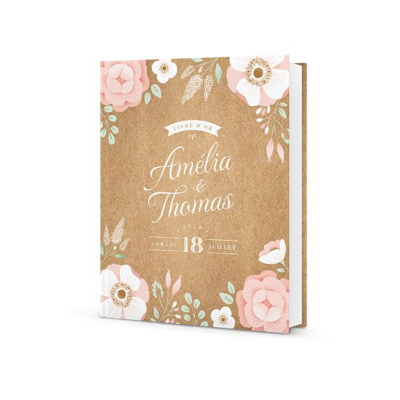 Livre D Or Mariage Personnalise Ardoise Fleurie Mariage