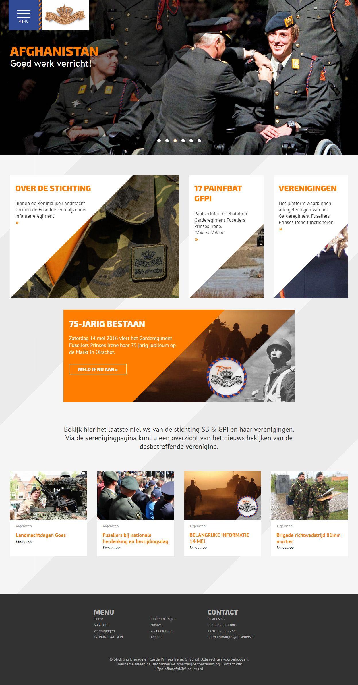 Concept & bouw van de responsive website voor Fuseliers.nl, het online platform van Garderegiment Fuseliers Prinses Irene en de Regimentsverzameling Brigade en Garde Prinses Irene. Het ontwerp van de website is door CreCs uitgevoerd.