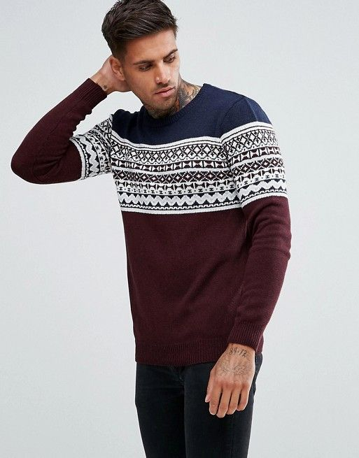Pull&Bear Fairisle Sweater In Burgundy | asos men | Pinterest ...