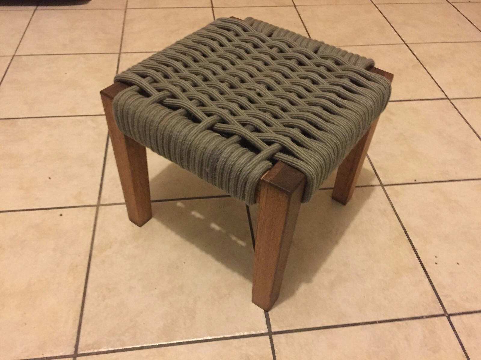 oiled reused oak framed stool using old climbing rope woven for