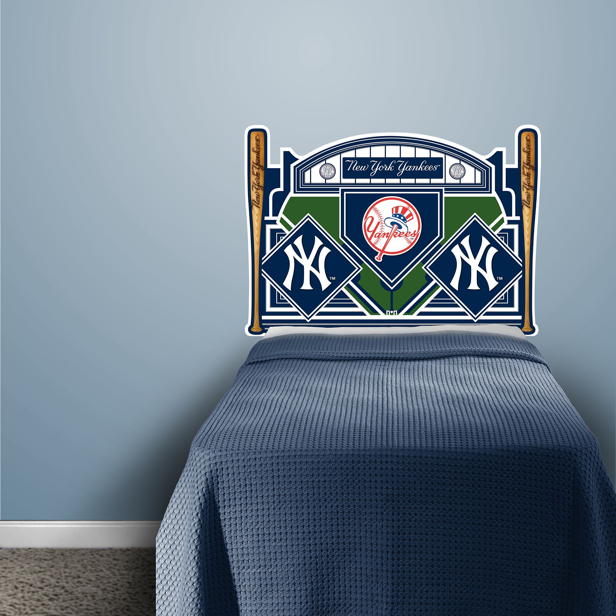 new york yankees headboard - twin bed real.big. fathead wall