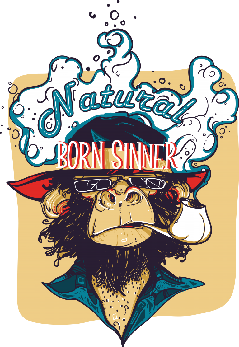 Natural born sinner vector tshirt design for commercial