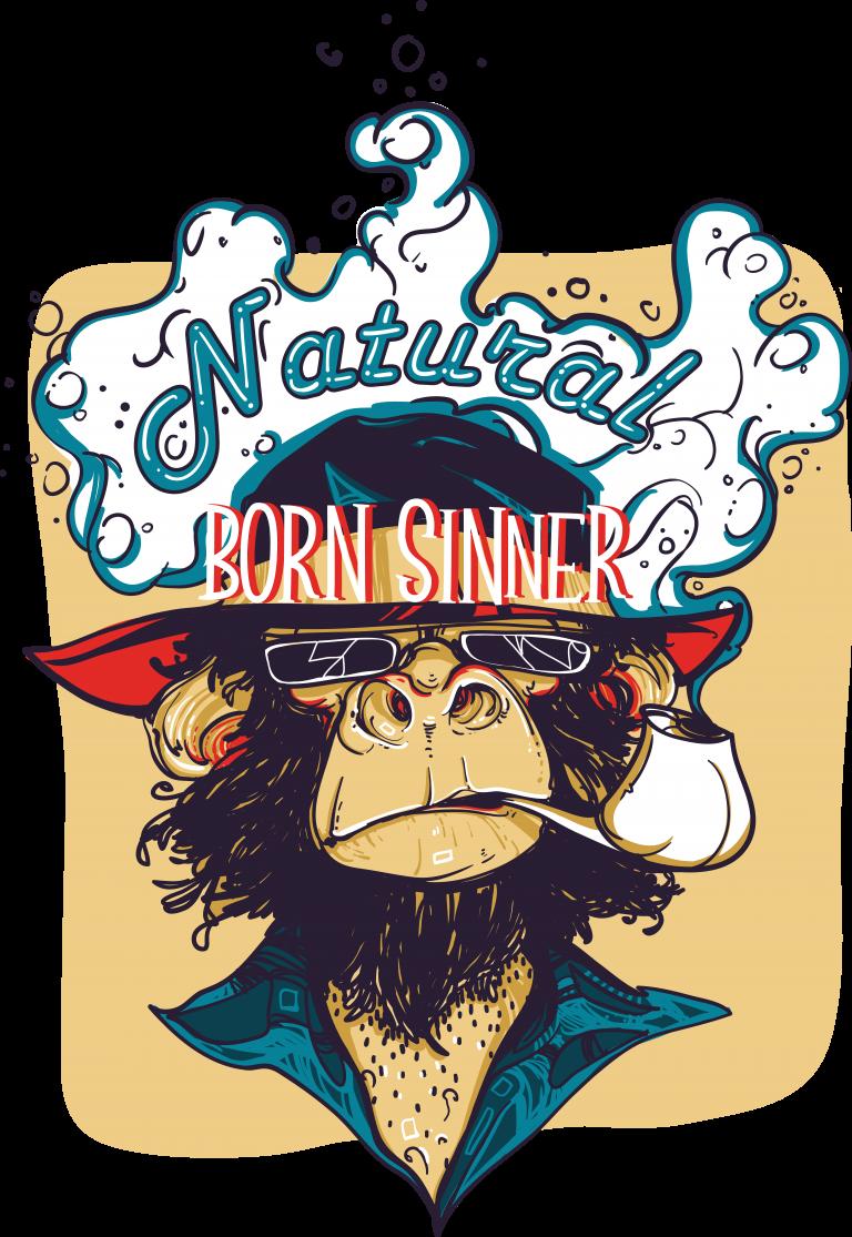 Natural born sinner vector tshirt design for commercial