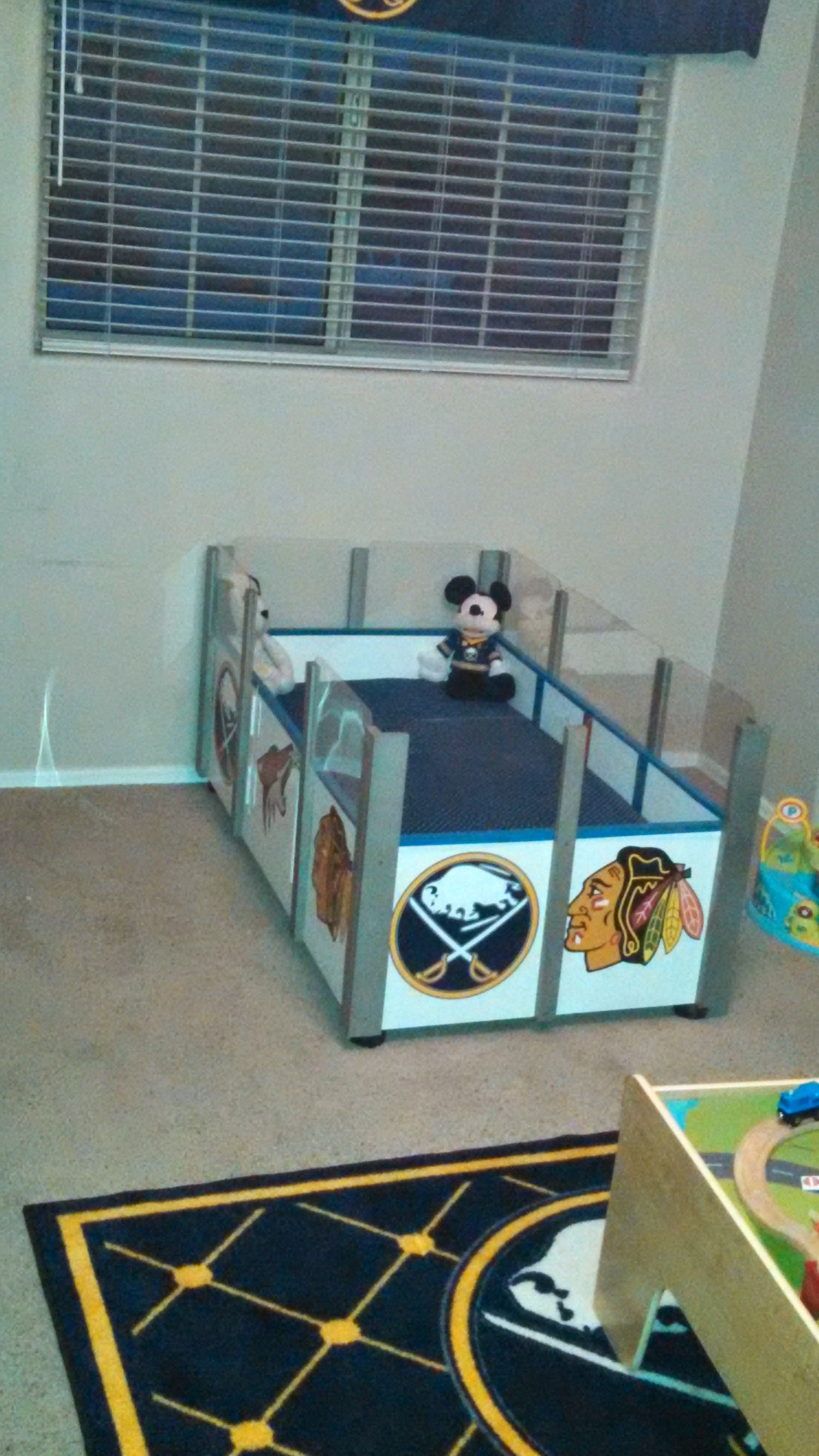 My variation of the hockey rink bed for my little guy