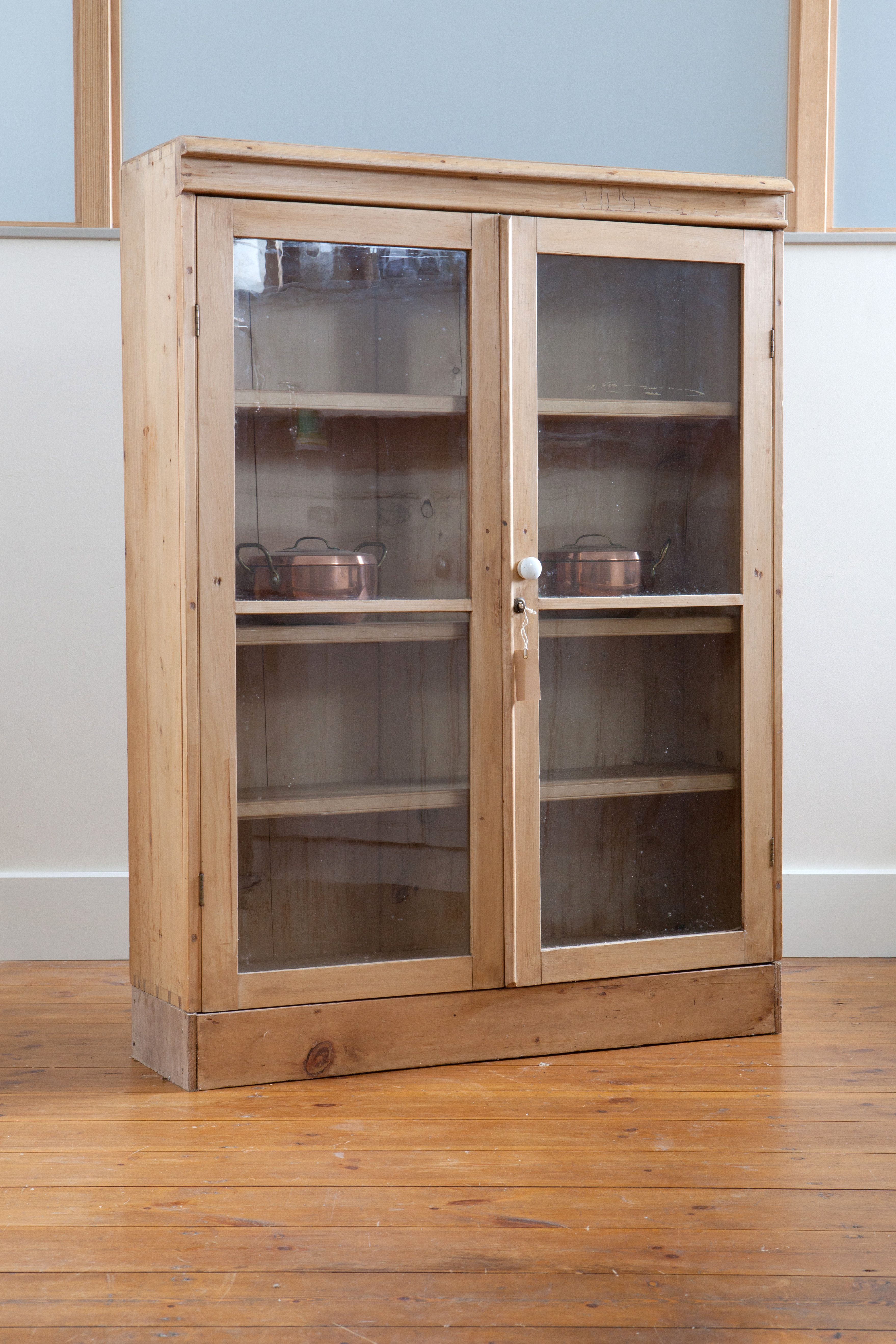 Antique Pine Display Cabinet With Glass Doors Gorgeous And