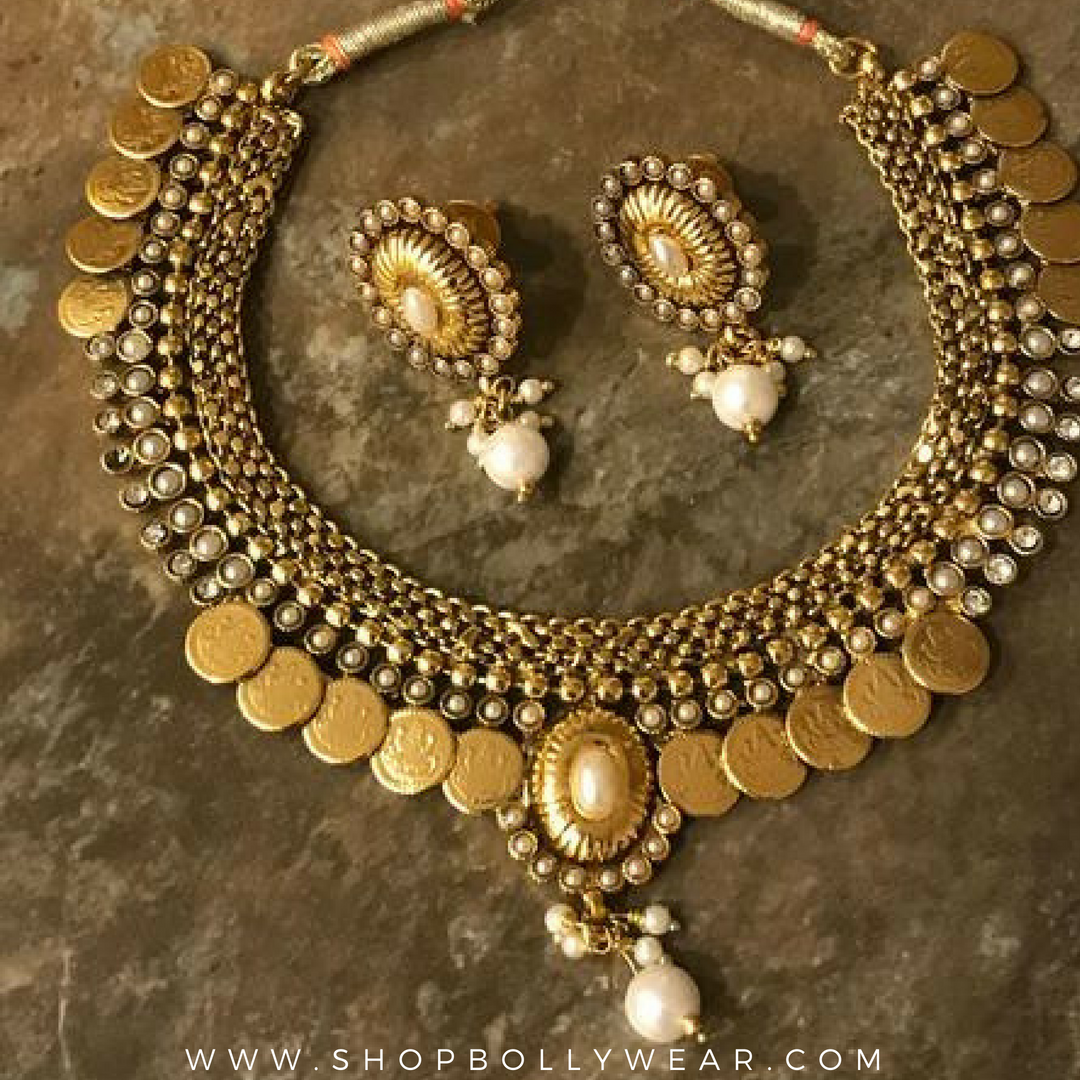 Gold plated laxmi coin necklace set with matching earrings