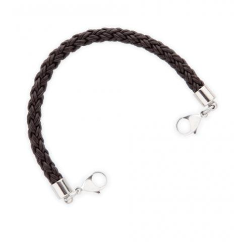 Brown Braided Leather Medical ID Bracelet.