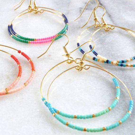 Photo of Red Beaded Hoop Earrings, Big Beaded Hoops, Red Earrings, Gifts For Her, Beaded Earrings, Gifts for Girlfriend, Peach Ombre Beaded Hoops