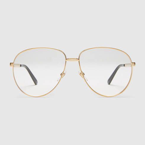 b2beb1c382 Gafas de aviador con tribanda - Gucci Lentes Transparentes 434036I33308881