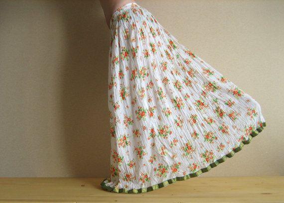 Long skirt - Gypsy Skirt - Maxi Skirt - Peasant Skirt - white skirt by Chandrika Shop Flower print skirt