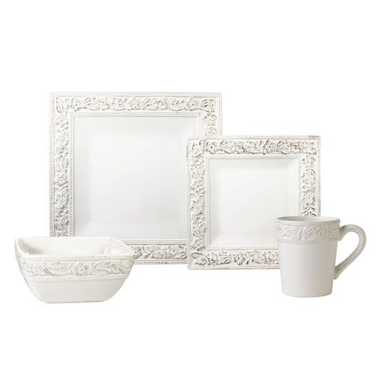 32 Piece Square Dinnerware Set Service For 8 Pfaltzgraff Country Cupboard Square Dinnerware Set Pfaltzgraff