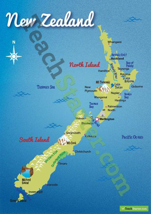 Hastings New Zealand Map.New Zealand Landform Map Homeschool Teaching Geography Teaching
